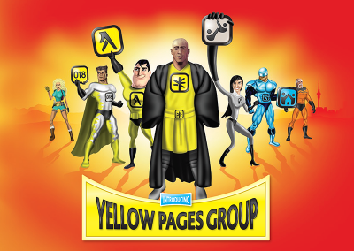 Superhero characters for Yellow pages NZ