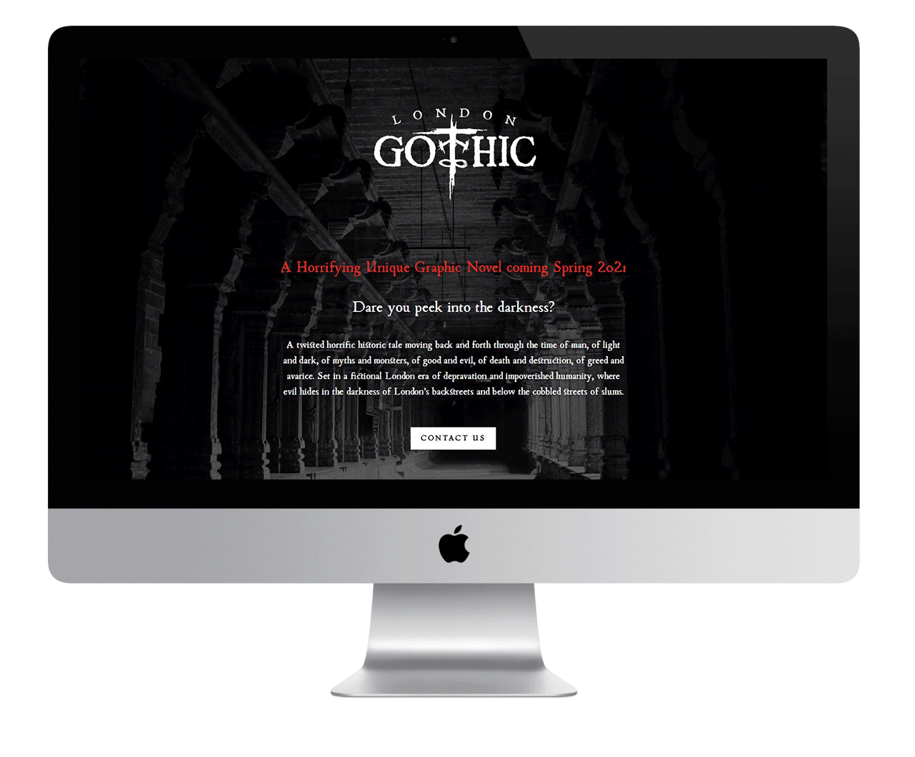 Apple monitor displaying the London Gothis website homepage